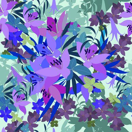 Vecteur carte de voeux de lys rose et violette Arabis arrangement de fleurs pour votre fête