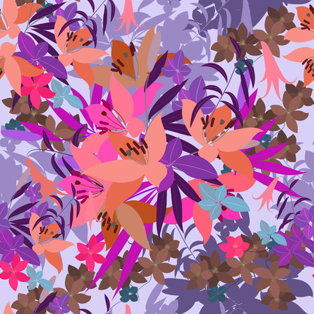 lily flowers: Vector greeting card with pink lily and violet arabis flower arrangement for your celebration