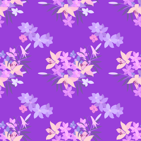 vintage pattern background: Vector greeting card with pink lily and violet arabis flower arrangement for your celebration