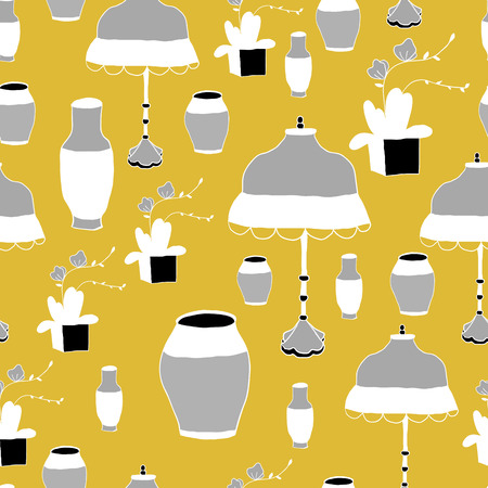 room accents: The pattern vase and lamp Chinese style, vector illustration.