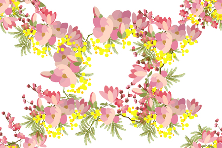 sprig: Floral background vector illustration. Sprig of mimosa, flowers and leaves of sakura, cherry and magnolia, spring background, floral greeting card