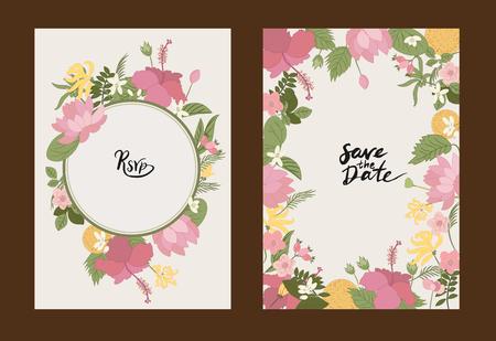 Sammlung Grußkarte Floral Vektor Hintergrund. Blumen Ylang-Ylang, Hibiskus, Hagebutten, orange und Blätter auf Grußkarten