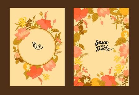 carta Collezione auguri floreale di vettore. Fiori Ylang-ylang, ibisco, bacche di rosa canina, arancio e foglie su cartoline d'auguri