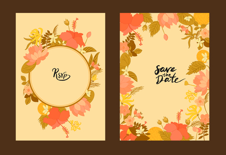 orange blossom: Collection greeting card Floral vector background. Flowers Ylang-ylang, hibiscus, rosehips, orange and leaves on greeting cards Illustration