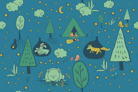 night bird: Activities for young men and women in the forest at night while camping. Sleeping bear on the grass, mom and baby bunny rabbit in its burrow. Sleeping bird on a tree in the night forest. A scene from the night life of the forest.