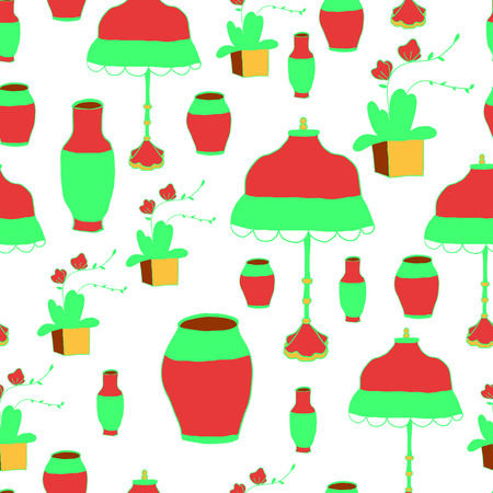 home accents: The pattern vase and lamp Chinese style, vector illustration.