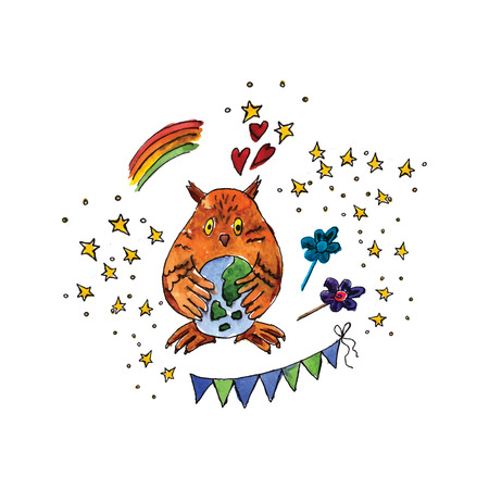 madre tierra: Illustration of the International Day of Mother Earth is painted in watercolor. Vector.