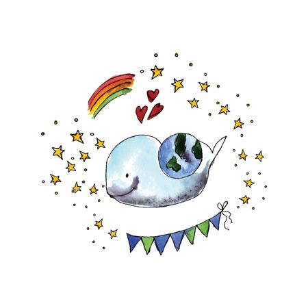 madre tierra: Ilustraci�n del D�a Internacional de la Madre Tierra est� pintado en acuarela. Vector.