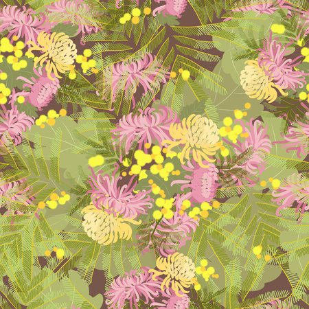 mimosa: Floral chrysanthemum and mimosa flowers retro vintage background, vector illustration Illustration
