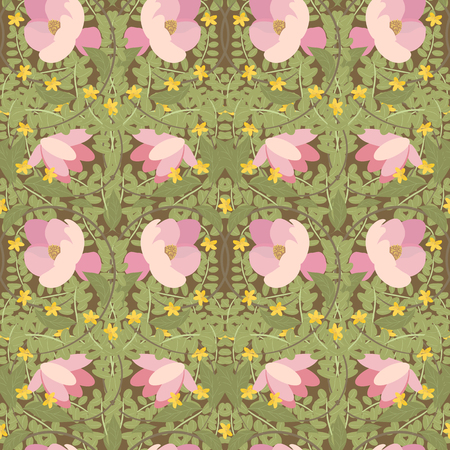 wort: Illustration vintage floral Magnolia and St. Johns wort pattern for your design. Suitable for holiday decoration, fabric, wallpaper, scrapbook paper, greeting cards Stock Photo