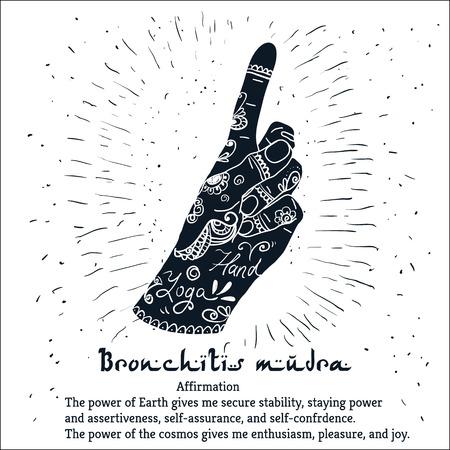 bronchitis: Element yoga Bronchitis mudra hands with mehendi pattern. Vector illustration for a yoga studio, tattoo, spa, postcards, souvenirs.
