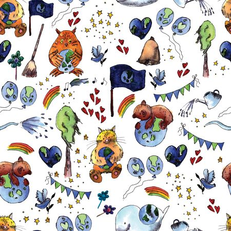 madre tierra: Ilustración del Día Internacional de la Madre Tierra está pintado en acuarela. Vector.