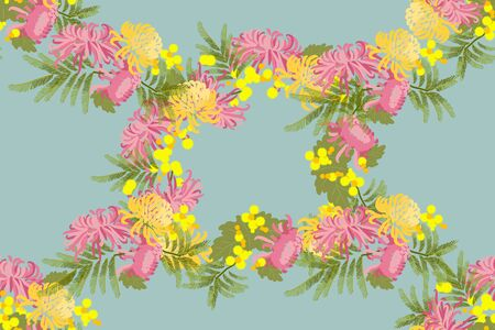 mimosa: Floral chrysanthemum and mimosa flowers retro vintage background, vector illustration Stock Photo