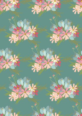 crocus: Floral cosmos flowers and crocus retro vintage background, vector illustration Stock Photo