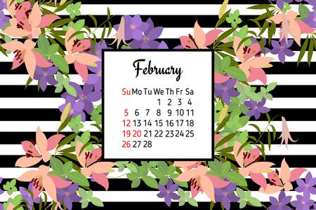 lirio blanco: tarjeta de felicitaci�n del vector con el lirio rosado y violeta Arabis arreglo floral para su celebraci�n. CALENDARIO Febrero 2017