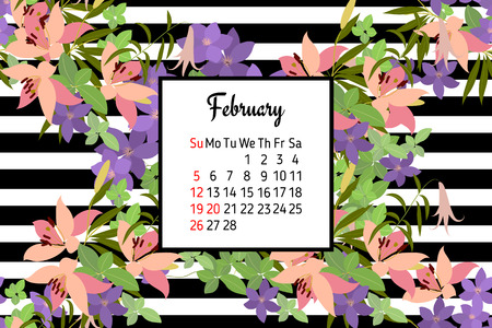 lily of the valley: Vector greeting card with pink lily and violet arabis flower arrangement for your celebration. Calendar February 2017