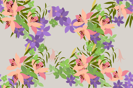 pink lily: Vector greeting card with pink lily and violet arabis flower arrangement for your celebration