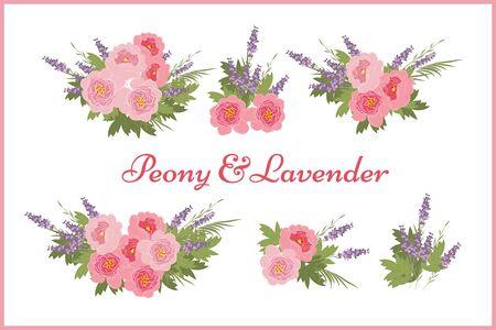 sprig: Floral  peony lavender background vector illustration. Sprig  background, floral greeting card