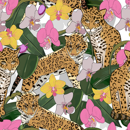 exotic flowers: Seamless pattern of exotic flower orchid and jaguar.Tropical flowers and exotic animal seamless background