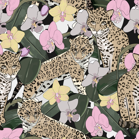 Seamless pattern of exotic flower orchid and jaguar.Tropical flowers and exotic animal seamless background