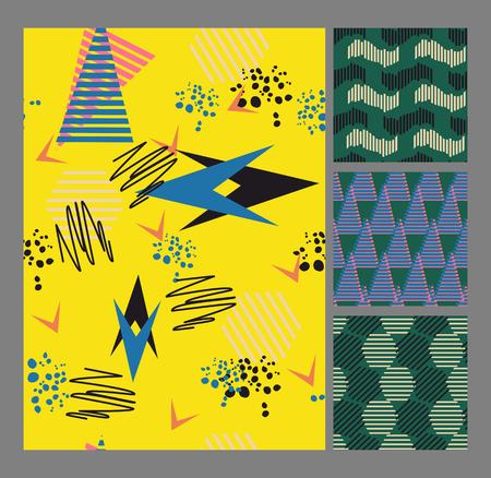 memphis: Retro vintage 80 Memphis style of fashion illustration. Seamless pattern vector illustration