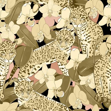 이국적인 꽃 난초와 재규어의 원활한 패턴입니다. 열 대 꽃과 이국적인 동물 원활한 배경 일러스트
