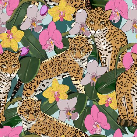 flores exoticas: sin patr�n de flor ex�tica orqu�dea y flores jaguar.Tropical y animales ex�ticos de fondo sin fisuras