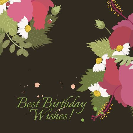 sprig: Floral  daisy hibiscus background vector illustration. Sprig background, floral greeting card
