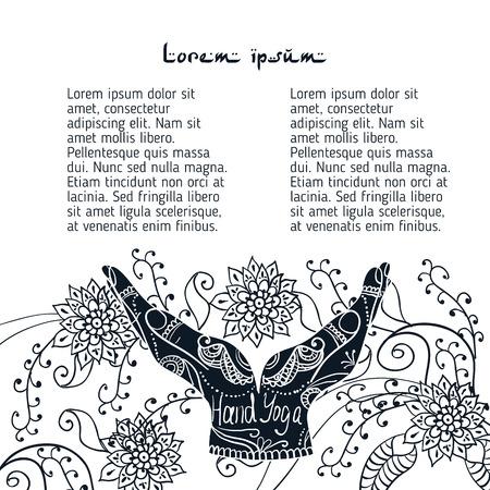 Element Yoga-Mudra Hände mit mehendi Mustern. Vektor-Illustration für ein Yoga-Studio, Tätowierung, Spa, Postkarten, Souvenirs.