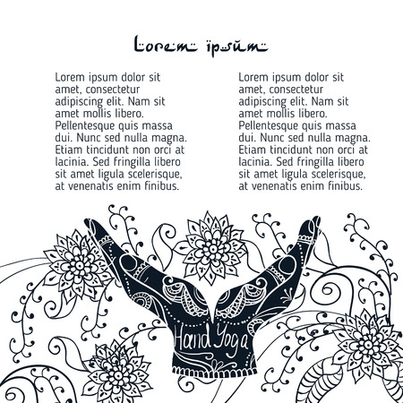 Element yoga mudra hands with mehendi patterns. Vector illustration for a yoga studio, tattoo, spa, postcards, souvenirs.