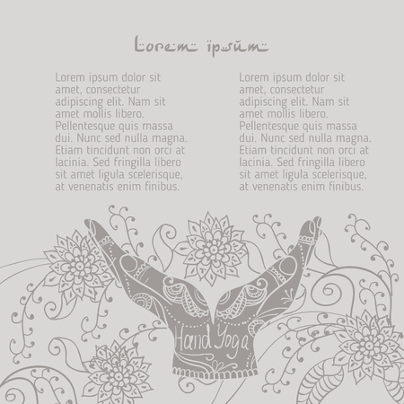 budda: Element yoga mudra hands with mehendi patterns. Vector illustration for a yoga studio, tattoo, spa, postcards, souvenirs.