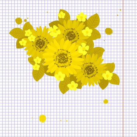 sprig: Floral  daisy sunflower background vector illustration. Sprig background, floral greeting card Illustration