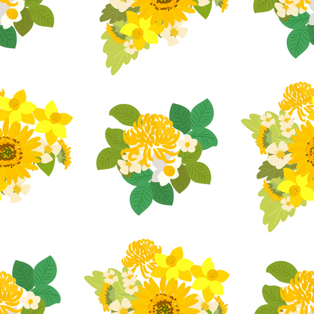 sprig: Floral  sunflower, narcissus, chrysanthemum background vector illustration. Sprig background, floral greeting card