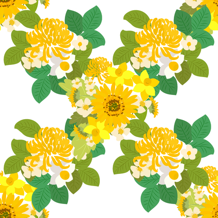 a sprig: Floral  sunflower, narcissus, chrysanthemum background vector illustration. Sprig background, floral greeting card