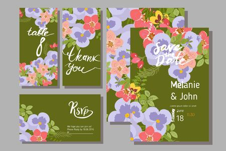 pansy: Floral  pansy, rose background vector illustration. Sprig background, floral greeting card