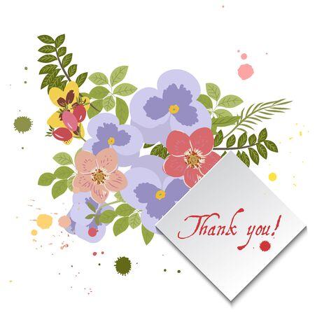 sprig: Floral  pansy, rose background vector illustration. Sprig background, floral greeting card