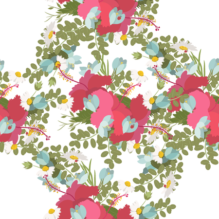 crocus: Vector pattern of tropical hibiscus flowers daisy ladybug crocus fern bunch Illustration