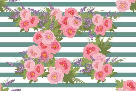 a sprig: Floral  peony lavender background vector illustration. Sprig  background, floral greeting card