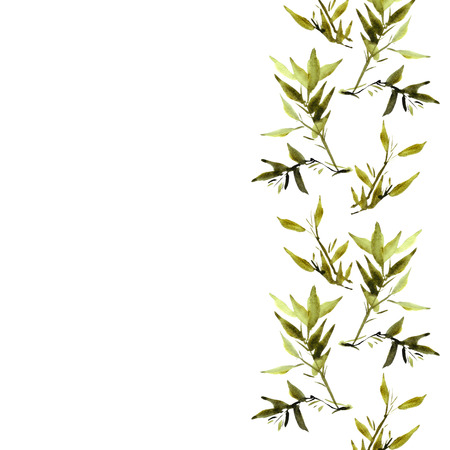 china watercolor paint: Watercolor illustration of plant leaves bamboo for your project. Chinese painting style of sumi-e.