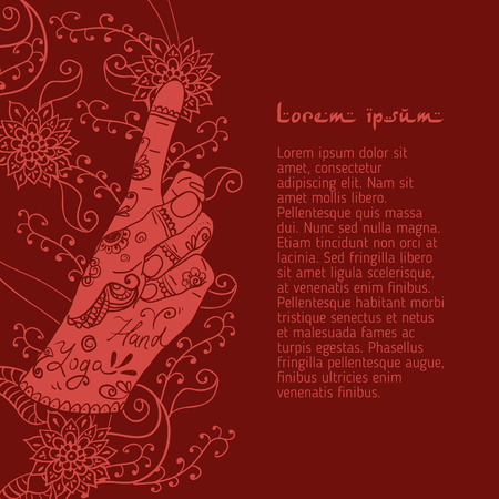 mudra: Element yoga Bronchitis mudra hands with mehendi patterns. Vector illustration for a yoga studio, tattoo, spa, postcards, souvenirs. Stock Photo