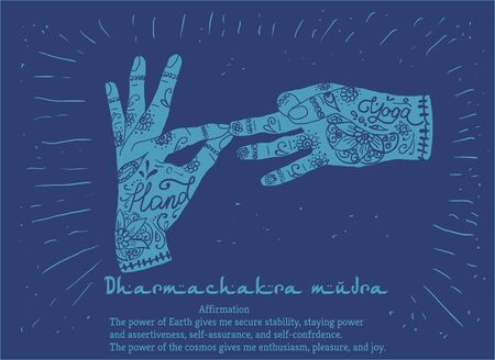 peace movement: Element yoga dharmachakra mudra hands with mehendi patterns. Vector illustration for a yoga studio, tattoo, spa, postcards, souvenirs.