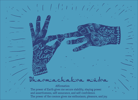 budda: Element yoga dharmachakra mudra hands with mehendi patterns. Vector illustration for a yoga studio, tattoo, spa, postcards, souvenirs.