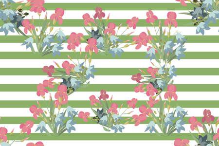 sprig: Floral iris bell  background vector illustration. Sprig  background, floral greeting card