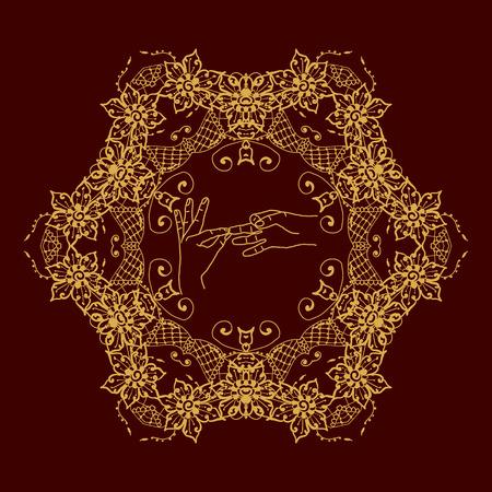 budda: Element yoga dharmachakra mudra hands with mehendi patterns. Vector illustration for a yoga studio, tattoo, spa, postcards, souvenirs.