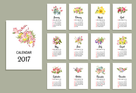 monthly: Vector illustration of floral calendar 2017  Flower bouquets and calendar months of 2017