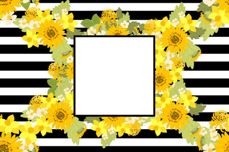 mimosa: Floral strawberries sunflower Chrysanthemum narcissus background vector illustration. Sprig of mimosa, flowers and leaves of sakura, cherry and magnolia, spring background, floral greeting card