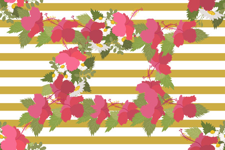 a sprig: Floral  daisy hibiscus background vector illustration. Sprig background, floral greeting card