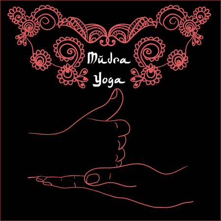 linga: Element yoga shiva linga mudra hands with mehendi patterns. Vector illustration for a yoga studio, tattoo, spa, postcards, souvenirs. Stock Photo