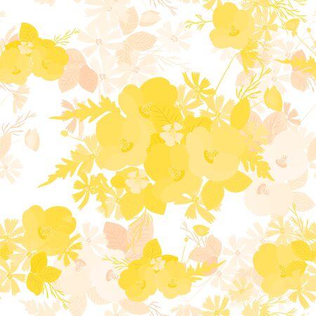 Bloemen papaver en kosmos aardbeien achtergrond vector illustratie. Twijg van mimosa, bloemen en bladeren van sakura, kersen en magnolia, spring achtergrond, bloemen wenskaart