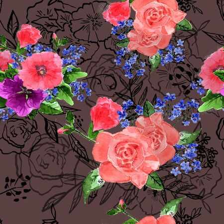 mallow: Flower  illustration. Bouquets of roses mallow flowers forget-me. Watercolor